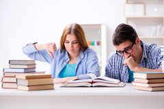Le coppie gli studenti che studiano per gli esami dell'università Fotografia Stock Libera da Diritti