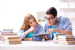Le coppie gli studenti che studiano per gli esami dell'università Immagine Stock Libera da Diritti