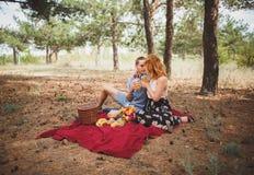 Le coppie hanno un picnic sul plaid rosso con i frutti differenti Fotografie Stock