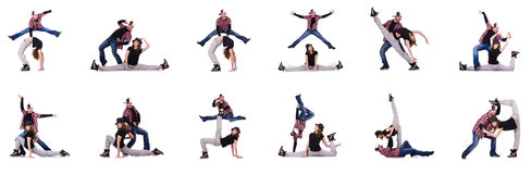 Le coppie i ballerini che ballano le danze moderne Fotografia Stock Libera da Diritti