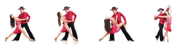 Le coppie i ballerini isolati sul bianco Immagini Stock