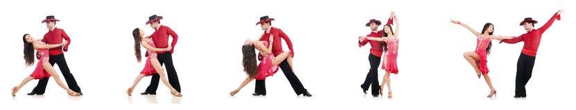 Le coppie i ballerini isolati sul bianco Fotografia Stock Libera da Diritti