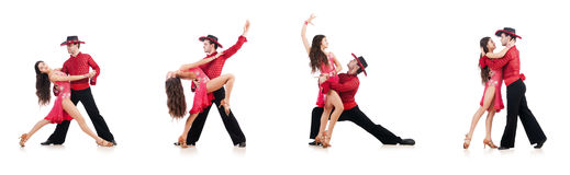 Le coppie i ballerini isolati sul bianco Fotografie Stock Libere da Diritti