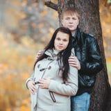 Le coppie incinte amorose che camminano in autunno parcheggiano Fotografie Stock
