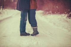 Le coppie nell'amore che abbraccia all'aperto nell'inverno fotografia stock libera da diritti