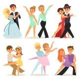 Le coppie persona e gente romantiche di dancing ballano insieme l'uomo con l'illustrazione di vettore di bellezza di spettacolo d Fotografia Stock