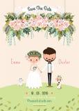 Le coppie rustiche di nozze conservano il fiore floreale della carta dell'invito della data Immagini Stock Libere da Diritti