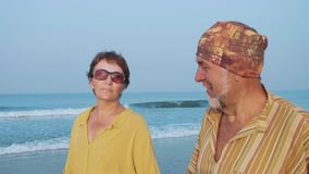 Le coppie senior che camminano sulla spiaggia e che parlano, steadicam hanno sparato video d archivio