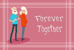 Le coppie senior si tengono per mano per sempre la cartolina d'auguri del giorno dei nonni royalty illustrazione gratis