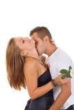 Le coppie nell'amore con sono aumentato Fotografia Stock