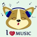 Le corgi de chien est un musicien qui chante des chansons Dirigez dans des écouteurs bleus avec les yeux fermés, dans le style de Image stock