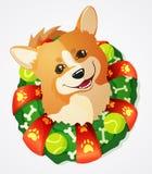 Le corgi mignon chien et Noël de Gallois tresse, illustration de bande dessinée Photos libres de droits