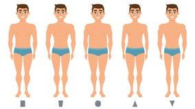 Le corps masculin figure, position d'homme, formes d'hommes illustration de vecteur