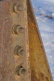 Le corrosif s'est rouillé boulon avec l'écrou fin industrielle de construction  Photographie stock libre de droits