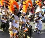 Le cortège solennel dans des costumes de carnaval 3 février 2008 photo stock