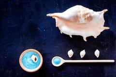 Le cosmétique de station thermale a placé avec du sel de mer pour le bain et la coquille sur la maquette bleu-foncé de vue supéri Photographie stock