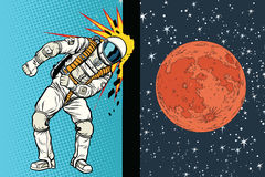 Le cosmonaute frappe la tête sur le mur Un rêve à être sur Mars illustration libre de droits
