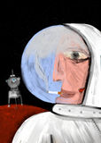 Le cosmonaute fume à l'intérieur de son spacesuit Photos stock