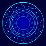Le costellazioni Vector l'insieme Dodici segni dello zodiaco situato in un cerchio Cerchio al neon blu dell'oroscopo perfetto illustrazione di stock