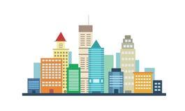 Le costruzioni della città abbelliscono la vista su fondo bianco illustrazione vettoriale