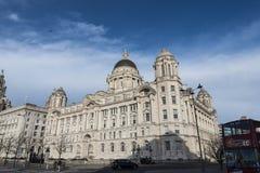 Le costruzioni della testata del molo a Liverpool Merseyside Inghilterra Immagini Stock Libere da Diritti
