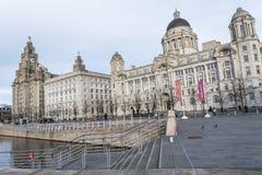 Le costruzioni della testata del molo a Liverpool Merseyside Inghilterra Fotografia Stock