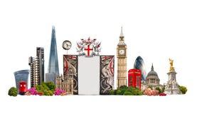 Le costruzioni famose di Londra contro di fondo bianco Immagini Stock Libere da Diritti