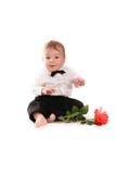 Le costume de monsieur de bébé garçon et le papillon de lien avec se sont levés Images libres de droits