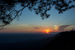 Le coucher du soleil à la falaise de Makdook Photo libre de droits