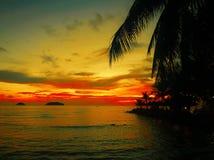 Le coucher du soleil ardent de lueur au-dessus d'une belle plage tropicale et l'océan arrosent Différentes couleurs des nuages et Images stock