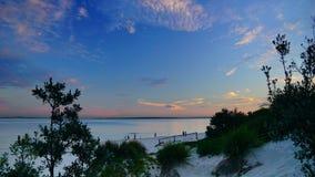 Le coucher du soleil au-dessus des Brighton-Le-sables ?chouent, Sydney, photographie stock