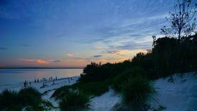 Le coucher du soleil au-dessus des Brighton-Le-sables ?chouent, Sydney, image libre de droits