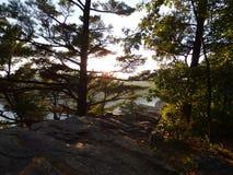 Le coucher du soleil au lac du ` s de diable bluffe Image libre de droits