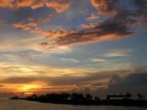 Le coucher du soleil dans le paradis Images libres de droits