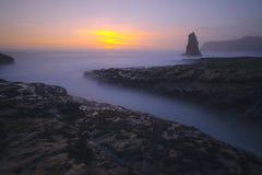 Coucher du soleil de plage de Davenport Photo stock