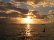 Le coucher du soleil de sépia Photo stock