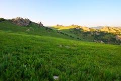 Le coucher du soleil de steppe de haute montagne Photos libres de droits