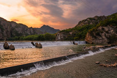 Le coucher du soleil de vallée de Bingyu Images libres de droits