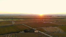 Le coucher du soleil de vue aérienne en riz met en place à Valence banque de vidéos