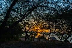 Le coucher du soleil en dedans Photos libres de droits