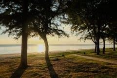 Le coucher du soleil en mer avec des arbres balancent à la plage Chanthabur de Chaolao Tosang photo stock
