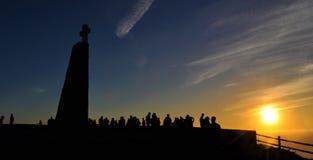 Le coucher du soleil où la terre finit - cap Roca Images libres de droits