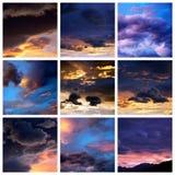 Le coucher du soleil opacifie le collage Photo libre de droits