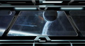 Le couloir de vaisseau spatial avec la vue sur le système éloigné 3D de planètes rendent Photographie stock