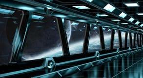 Le couloir de vaisseau spatial avec la vue sur le système éloigné 3D de planètes rendent Images stock