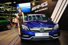 Le coupé de CLA de Mercedes-Benz sur l'affichage pendant le Singapour Motorshow 2016 Photo libre de droits