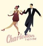 Le couple élégant portant le style de 20 ` s vêtx Charleston de danse Photo libre de droits