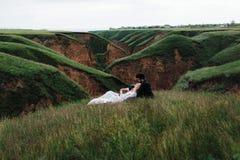 Le couple affectueux se trouve sur une herbe Image stock
