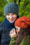Le couple dans l'amour boit du café Photo stock