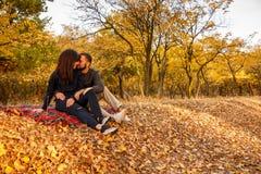 Le couple dans l'amour se reposant l'automne tombé part Image stock